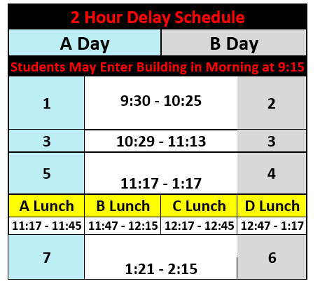 Schedule for a 2 hour delay opening