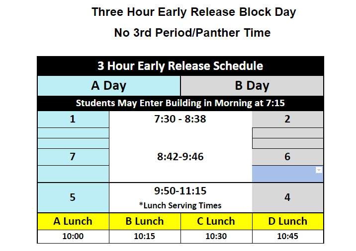 3 hour early release schedule