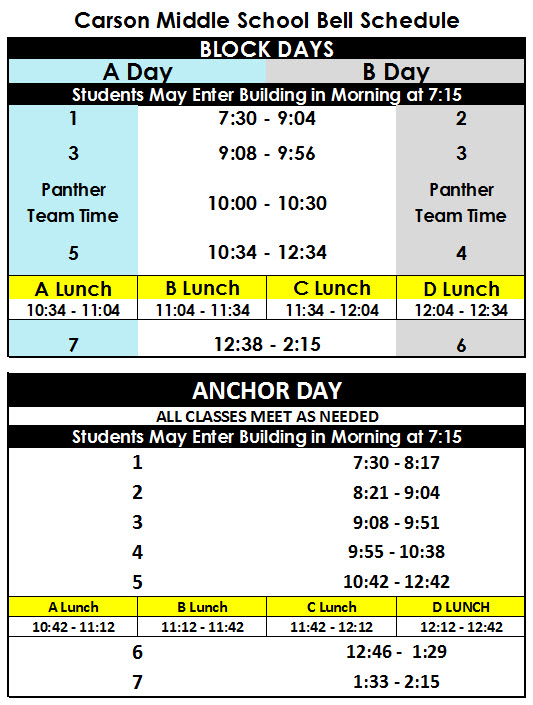 bell schedule break down for typical day