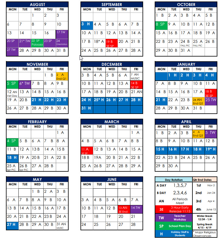 Quick Glance calendar of A/B schedule for 2018-19