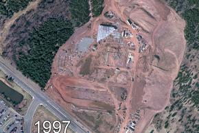 Aerial photograph of the Carson Middle School site, circa 1997. The school is under construction. You can see some of the cinderblock walls and steel framing in place.